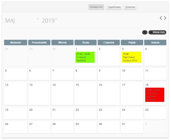 Kalendarz wydarzeń – informacje