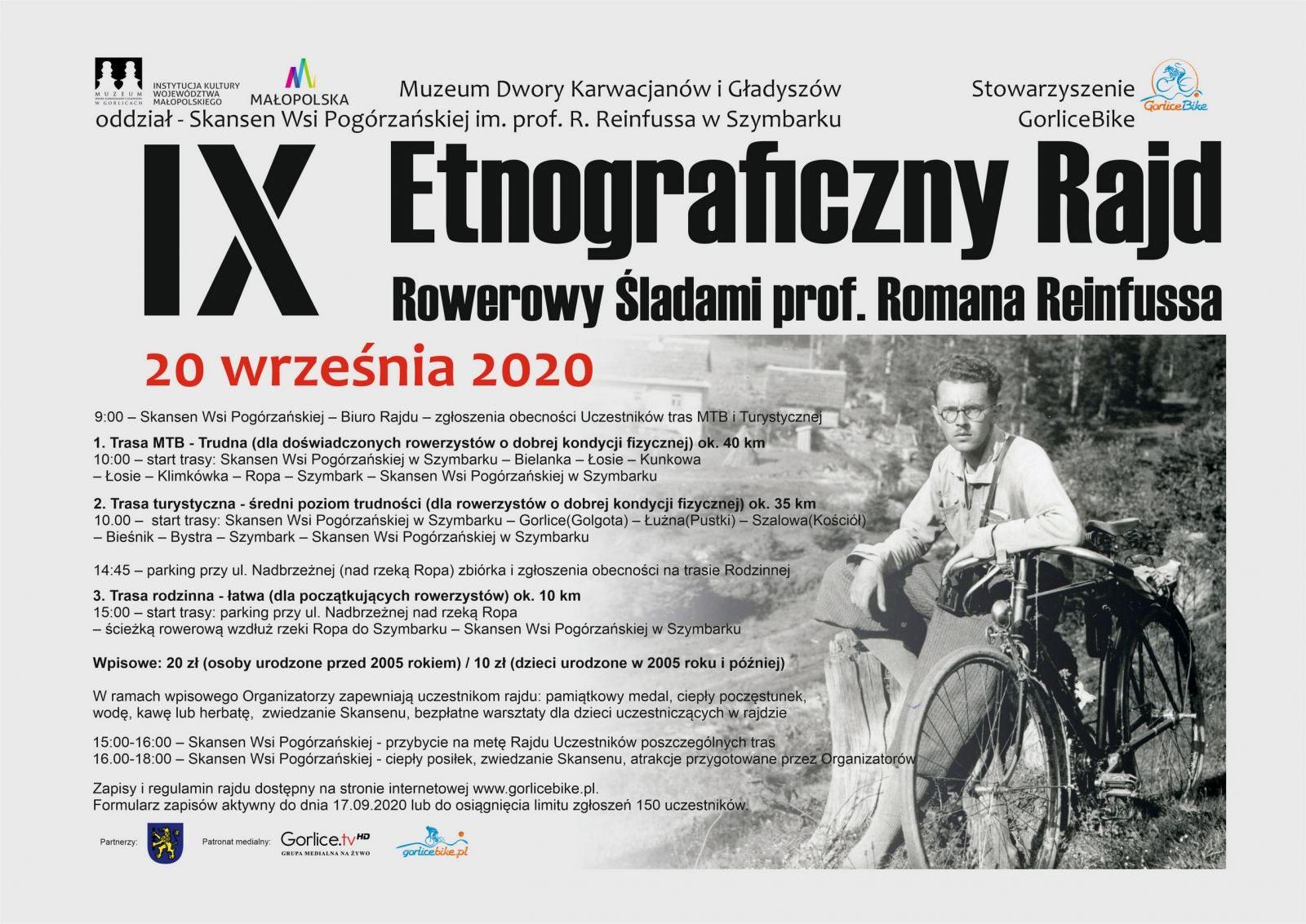 plakat wydarzenia IX Etnograficzny Rajd Rowerowy Śladami prof. Romana Reinfussa