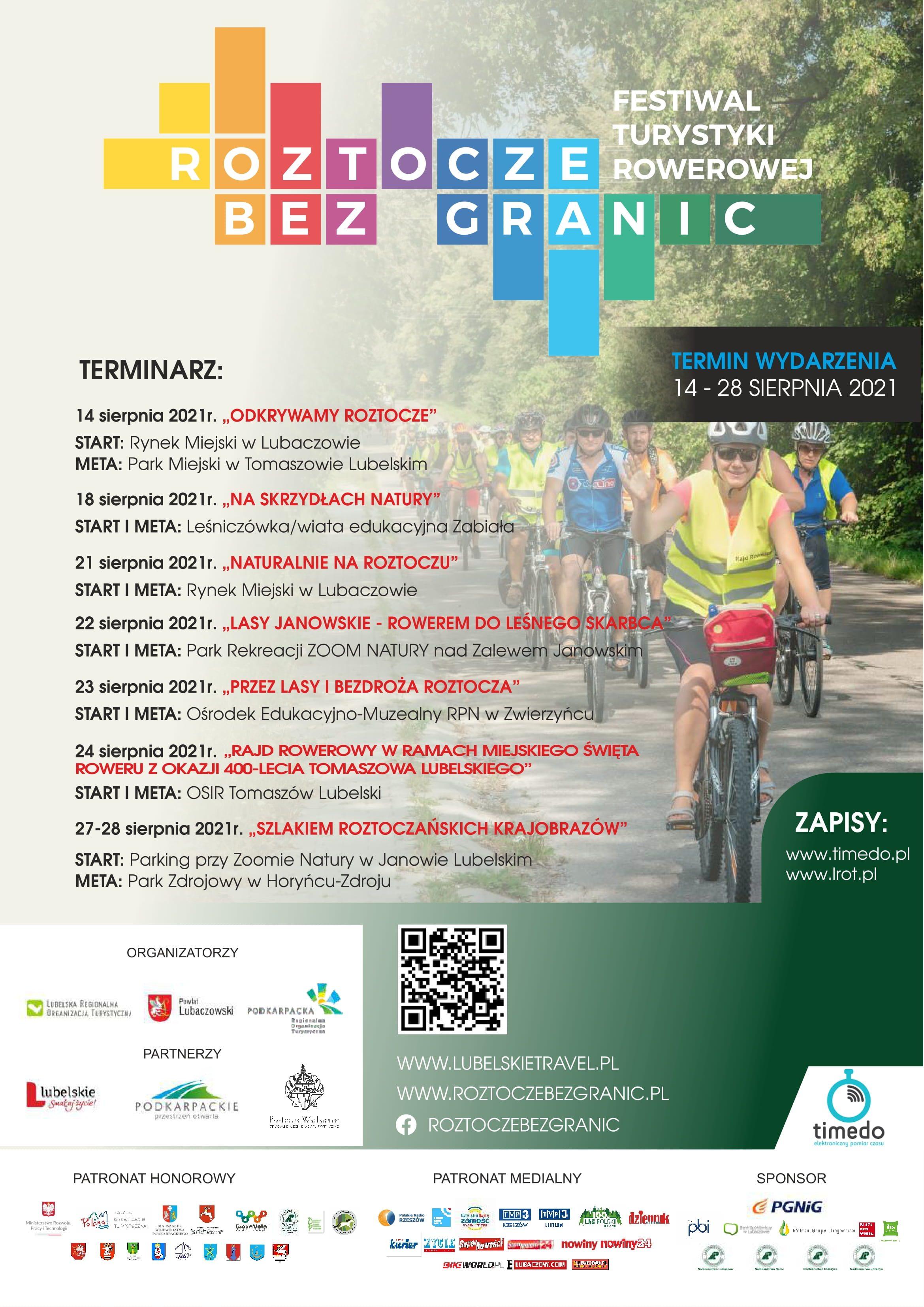 plakat wydarzenia Festiwalu Turystyki Rowerowej – Roztocze bez granic